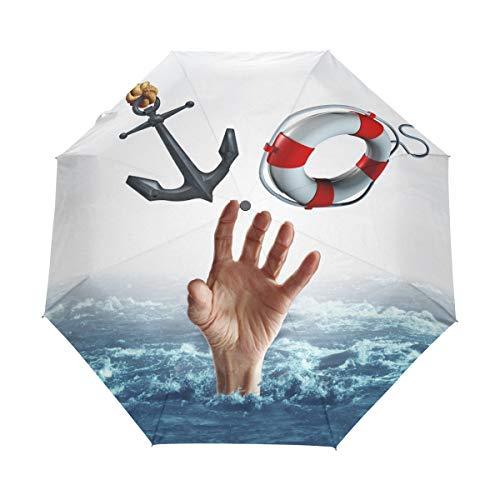 SUHETI Regenschirm Taschenschirm,Leben Tod Konzept Waschbecken Schwimmen Symbol,Auf Zu Automatik,windsicher,stabil