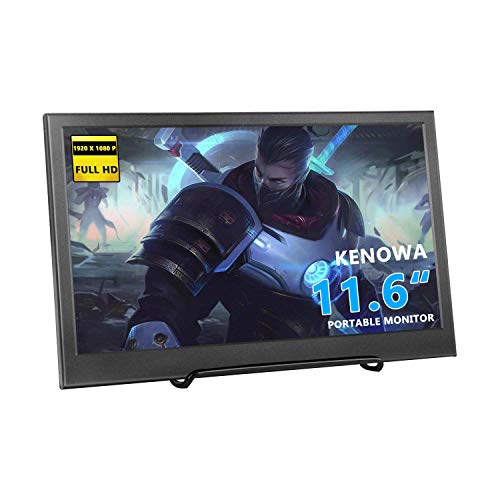 11.6' HD Monitor, kenowa IPS 1920 * 1080P piccoli portatile LED Monitor con ingresso HDMI per Raspberry Pi 3B 2B B + PC – Auto Fotocamera DSLR telecamera CCTV Xbox 360 Windows 7/8/10