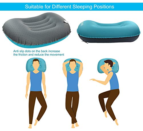 MARCHWAY Ultralight Compact Inflatable Camping Pillow, Soft Compressible Portable Travel Air Pillow for Outdoor Camp, Sport, Hiking, Backpacking Night Sleep and Car Airplane Lumbar Support (Blue)