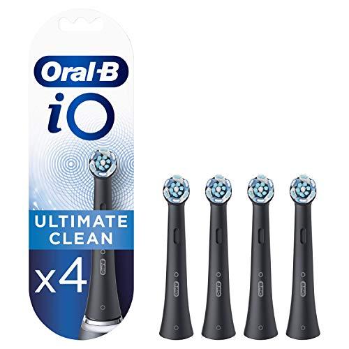 Oral-B iO Ultimate Clean Cabezales de Recambio, Pack de 4 Recambios Negros Originales para Cepillos de Dientes Eléctricos