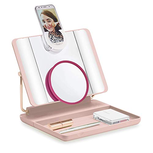 Spotlite HD 2.0. Cordless Ultra-Bright Light Makeup Mirror with 10x Magnification (4 in 1) Vanity Mirror | Handheld Mirror | Wall Mounted Mirror | Travel Mirror, by JUST OWN IT (BLUSH CRUSH)