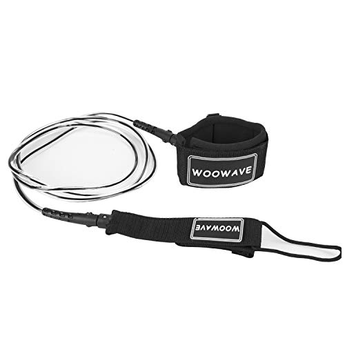 WOOWAVE Surfboard Leash Premium Surf Leash SUP Leg Rope Straight 6/7/8/9 feet for All Types of Surfboards (Clear Black Core, 9ft & 7mm)