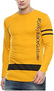 513d90cec Urbano Fashion Men's Yellow Full Sleeve Printed Slim Fit Cotton T-Shirt