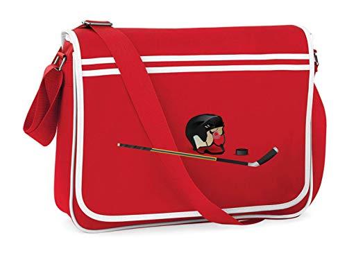 Druckerlebnis24 Schultertasche - Eishockey Puck Hockeyschläger Spiel - Umhängetasche, geeignet für Schule Uni Laptop Arbeit