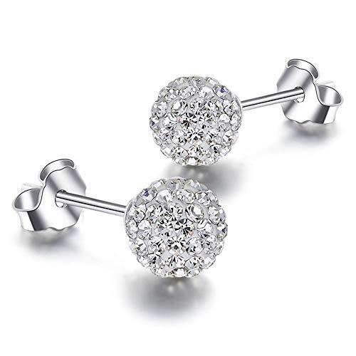 YANGYUAN Pernos prisioneros del oído Hombres y Mujeres Tremella Pernos de Bola de Diamante Joyas Pendientes de Plata Simple, 1 par