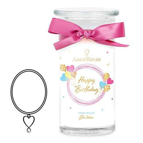JuwelKerze 'Happy Birthday' (Halskette) Schmuckkerze große weiß Duftkerze 925 Sterling Silber - Kerze mit Schmucküberraschung als Geschenk für sie/ihn