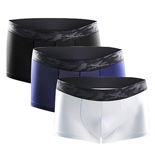 Litthing Herren Nylon Boxershorts EIS-Seide U konvex Dreidimensionales Design Transparente Atmungsaktive Unterhose 1 Schwarz + 1 Dunkelblau + 1 Weiß (XL)
