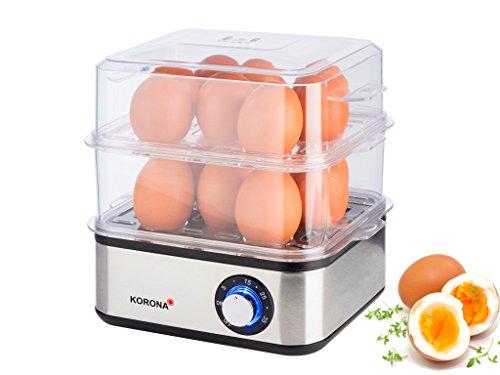 Korona 25303 Edelstahl Mini Dampfgarer und Eierkocher - Kleiner Dämpfer für Gemüse - Profi Kocher für bis zu 16 Eier