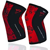 BanBroken Rodilleras RED SKULL (2 unds) - 5mm Knee Sleeves - Halterofilia,...