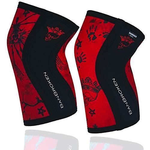 BanBroken Rodilleras RED SKULL (2 unds) - 5mm Knee Sleeves - Halterofilia,...