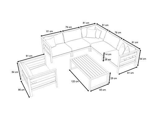 ARTELIA Adriano L Loungemöbel Set 6 Personen - Premium Gartenmöbel Set für Terrasse, Garten und Wintergarten, Terrassenmöbel Anthrazit - 3
