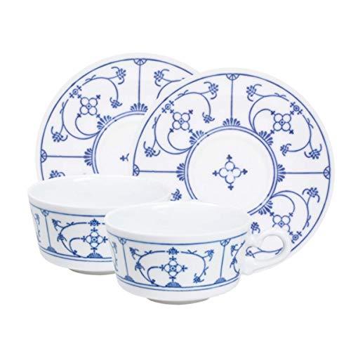 Kahla 41E151A75056H Blue Saks theekopjes set porseleinen kopjes 4-delig 230 ml kopjes en schoteltjes 2 stuks met handvat voor 2 personen