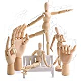 7/8/10/12/ inch Left&Right Wooden Hand Artists' Manikins Wood Sculpture Sketch Manikin Wooden Body Articulated Home Decoration Crafts Figurines & Miniatures (12 inch Hand-Left)