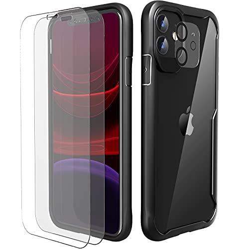 ORETECH Coque Compatible avec iPhone 11 avec 2 Verre Trempé Protection écran et 1 Caméra Arrière Protecteur,Antichoc Mince Dur PC TPU Silicone Coque iPhone 11 Etui pour iPhone 11 Housse Noir