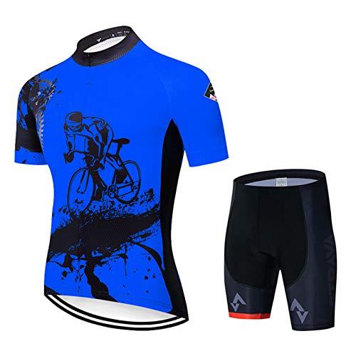 SJASD Ropa Ciclismo Verano Mangas Cortas Hombre Jersey Transpirable Maillots De MTB Y Pantalones Cortos para Deportes Al Aire Libre Ciclo Bicicleta,Azul,XL