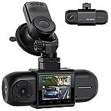 Dashcam Dual FHD 1080P delantera y trasera, cámara para automóvil con GPS, batería y visión nocturna por infrarrojos, cámara para automóvil de 170 °, grabación en bucle de monitoreo de estacionamiento