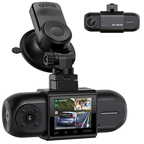 CAMPARKCAM Dashcam Dual FHD 1080P Vorne und Hinten, Autokamera mit GPS, Akku und IR-Nachtsicht, 170° Auto Camera, Dash Cam mit G-Sensor, Parküberwachung Loop-Aunahme 256GB Unterstützt