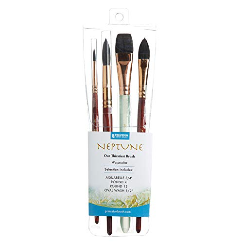 Princeton Artist Brush, Neptune Series 4750, 4-Piece Synthetic Squirrel Watercolor Paint Brush Set, Includes Aquarelle, Oval Wash & Round Brushes