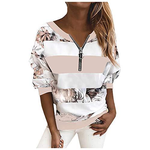 Masrin Frauen Pullover Plus Size O-Ausschnitt Gestreiftes Sweatshirt Langarm-Reißverschlusshemd Herbst Winter Farbe Patchwork Blusenhemd Lose Sportoberteile(XL,Rosa2)