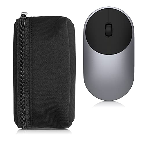 kwmobile Neoprene Pouch Compatible with Universal Wireless Mouse - Storage Carrying Case Dust Cover with Zipper - Black