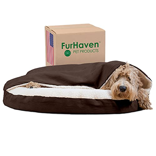 Furhaven Orthopedic Pet Bed for Dogs and Cats - Sherpa and Suede Snuggery Blanket Burrow Nest Dog Bed with Removable Washable Cover, Espresso, 35-Inch