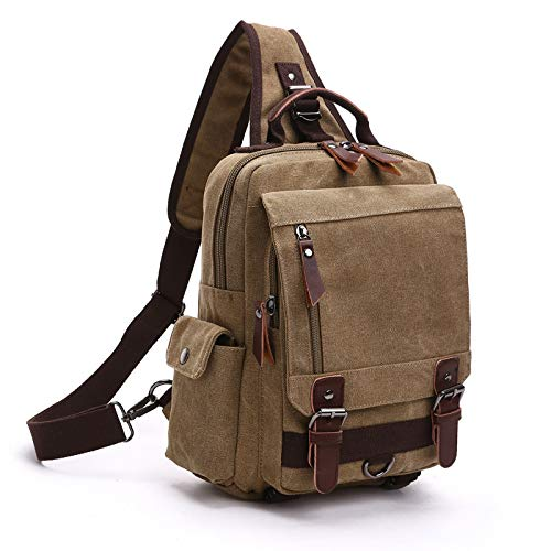 Men's Chest Bag Canvas Messenger Bag Casual Personality Multi-Function Single Shoulder Backpack Dual-use Backpack