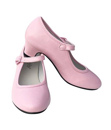 La Señorita Zapato Flamenco Princesa Bailarinas Baile Sevillanas niña Rosa (Talla 35 - 22,5 cm, Rosa)