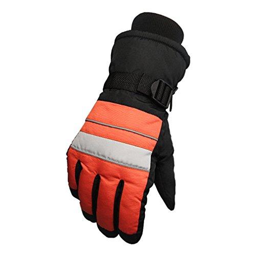 emansmoer Unisexe Hiver Outdoor Sport Gants de Ski Snowboard Coton rembourré Chaud Doublé Polaire Gants de Cyclisme Moto (Taille Unique, Orange)