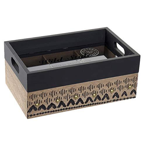 House en Mas dienblad, thee-ei van hout met 6 vakken. Set van 2 vintage keukenbewaardozen 24 x 15 x 10 cm