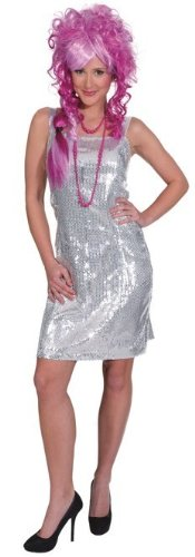 silbernes Paillettenkleid, Erwachsenen-Größe:40