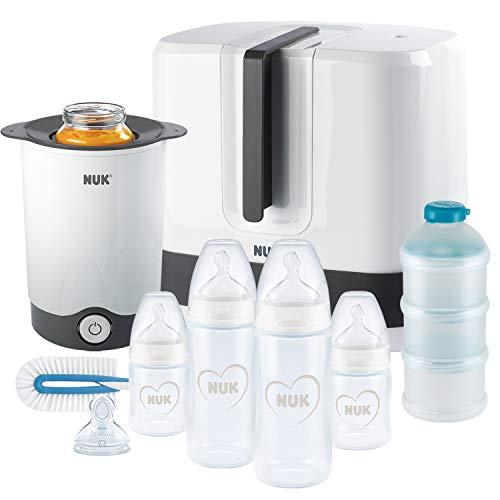 NUK First Choice+ Komplettes Fütterungsset | Vario Express sterilisator, 4x babyflaschen, 1x Babyflaschensauger, flaschenwärmer und mehr | Herz (neutral) | 9 stück