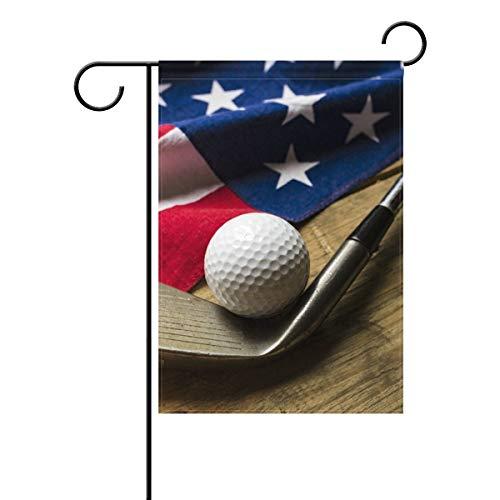 Bola de golf de doble cara con bandera americana en mesa de madera, bandera patriótica del 4 de julio, poliéster, bandera de jardín de 30,5 x 45,7 cm para decoración de jardín al aire libre