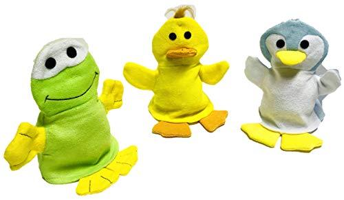 Waschhandschuh 3-er Set aus Ente, Pinguin, Frosch I Waschlappen u. Handpuppe mit Tiermotiven I fröhlichen Badespaß für Babys und Kinder ab 0 Jahren I inkl. Minis Geschenk I Kinderwaschlappen weich