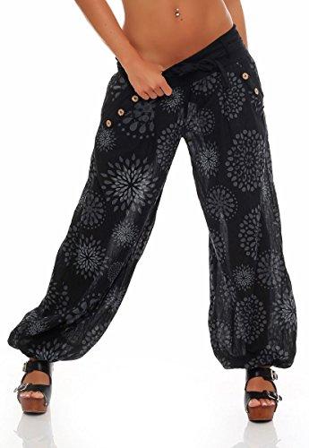 Malito Harem Pantalón con Veraniego Print Boyfriend Aladin Bombacho Sudadera Baggy Yoga 3481 Mujer Talla Única (Negro)