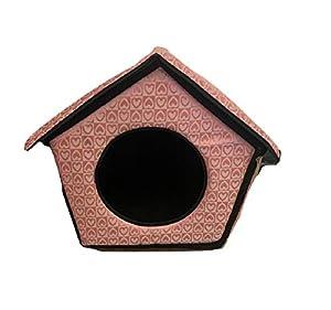 Ducomi® dogbnb–Maison souple en tissu pour chiens et chats–Niche pliable pour chien et chat en forme de maison