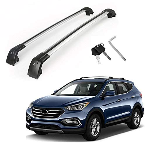 MotorFansClub Roof Rack Cross Bars Fit for Compatible with Hyundai Santa Fe 2013 2014 2015 2016 2017 2018 Crossbars Baggage Luggage Cargo Top Roof Rail