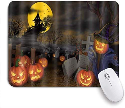 Gaming Mouse Pad rutschfeste Gummibasis, Halloween Kürbis Laterne Grab Ackerland Herbst Ernte Hexenhut Moonlight Dead Tree, für Computer Laptop Schreibtisch