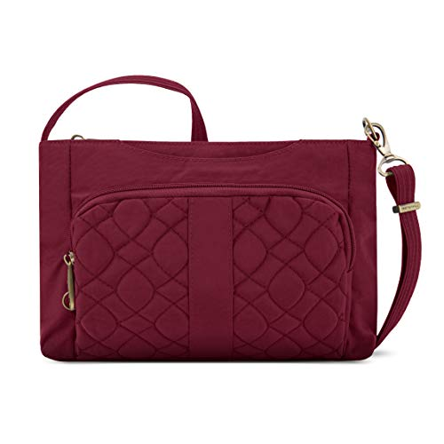 Travelon Anti-theft Signature Quilted E/W Slim Bag, Ruby