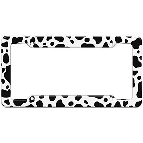 Graphics and More Blank Cow Pattern License Plate Frame