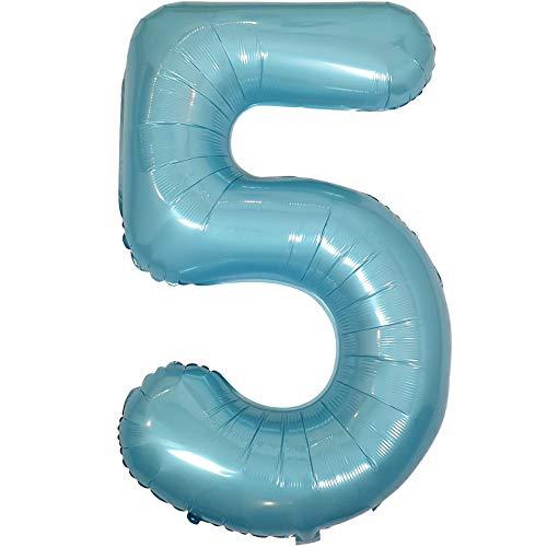 DIWULI, gigantische XXL Zahlen-Ballons, Zahl 5, Pearl Blue Luftballons, Zahlenluftballons Pastell blau, Folien-Luftballons Nummer Nr Jahre, Folien-Ballons für 5. Geburtstag, Party-Deko, Dekoration