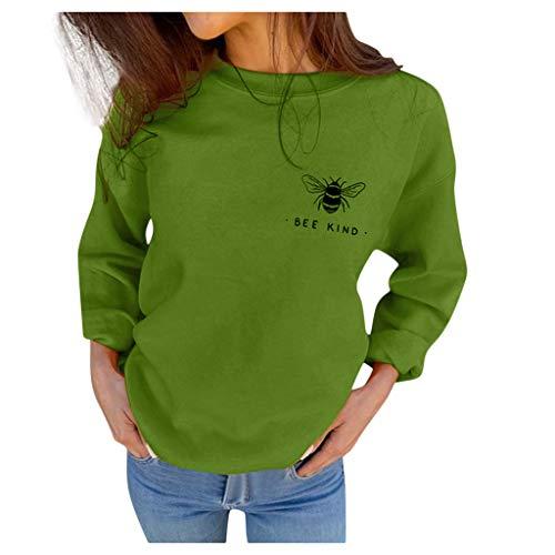 DEELIN Femme Sweat-Shirt Pull Automne Mode Femmes T-Shirt À Manches Longues Col Rond Impression Simple Petite Abeille Pull Chemise Ample Casual Blouse Tops Nouveau 2019