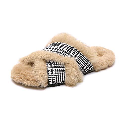LZZS Netzwerk Trend Hausschuhe aus Baumwolle Dame Mode Zuhause Im Freien Flache Sohle rutschfest Hausschuhe aus Baumwolle