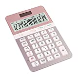 DWQ Calculadora de Escritorio Multifuncional Calculadoras de energía Dual con batería Solar con Pantalla de 14 dígitos Negocio Femenino portátil (Color : Pink)