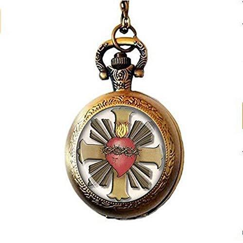 Jesucristo Sagrado Corazón Reloj de Bolsillo Collar Medalla Católica Religiosa Cristiana Joyería Arte Imagen Joyería