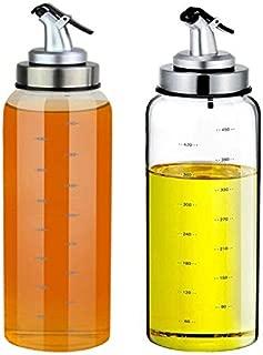 (2 Pack) Olive Oil Dispenser Bottle,17 Ounce Oil Cruet Glass,No Drip,Oil and Vinegar Dispenser Set, Lead-Free Glass Bottle for Oil Kitchen with Degree Scale