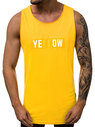 OZONEE Herren Tank Top Tanktop Tankshirt Ärmellos Bodybuilding Shirt Unterhemd T-Shirt Tshirt Tee Muskelshirt Achselshirt Trägershirt Ärmellose Training Sport Fitness 777/4686BO GELB S
