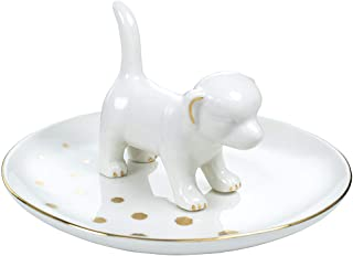 JLXDER Dog Ring Dish Holder,Ceramic Jewelry Trinket Tray for Engagement