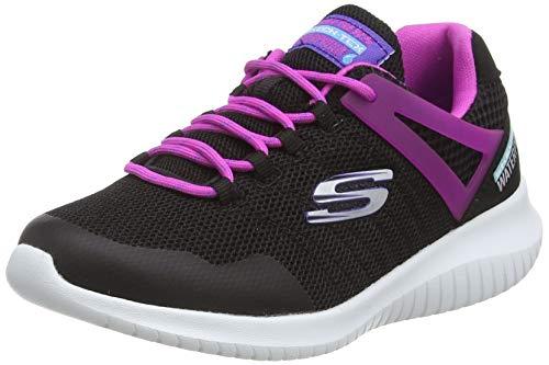 Skechers Girls' Ultra Flex Rainy Daze Trainers, Black (Black Mesh/Hot Pink Trim BKHP), 12 (30 EU)