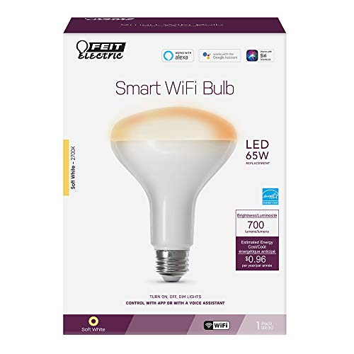 FEIT Electric 8 watts BR30 Smart WiFi LED Bulb 650 lumens Soft White Specialty 65 Watt Equivale