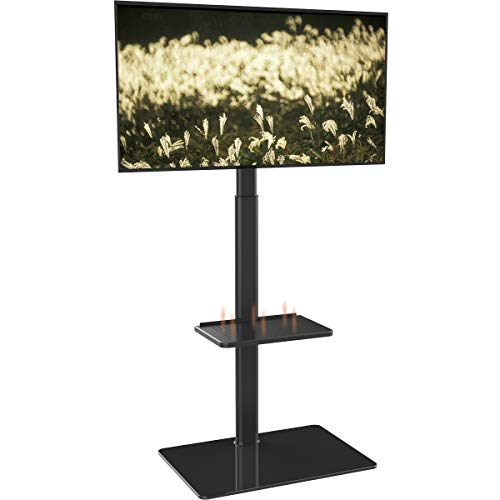 Soporte de Suelo con 2 Estantes,Giratorio y Altura Ajustablepara TV LCD LED OLED Plasma Plano 19-42 Pulgadas